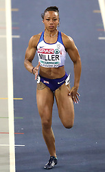 Great Britain's Rachel Miller during the Women's 60m semi final 2nd heat during day two of the European Indoor Athletics Championships at the Emirates Arena, Glasgow.