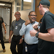OCTOBER 6, 2017--PONCE, PUERTO RICO ---<br /> San Lucas Hospital Development Director Arnaldo Rodriguez, jokes with Direct Relief's Gordon Willcock after receiving medical supplies from Direct Relief following the path of Hurricane Maria through Puerto Rico.<br /> (Photo by Angel Valentin/Freelance)