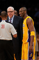 25 February 2011: Head coach Phil Jackson and Guard Kobe Bryant of the Los Angeles Lakers argue a call with NBA Official Michael Smith while playing against the Los Angeles Clippers during the first half of the Lakers 108-95 victory over the Clippers at the STAPLES Center in Los Angeles, CA.