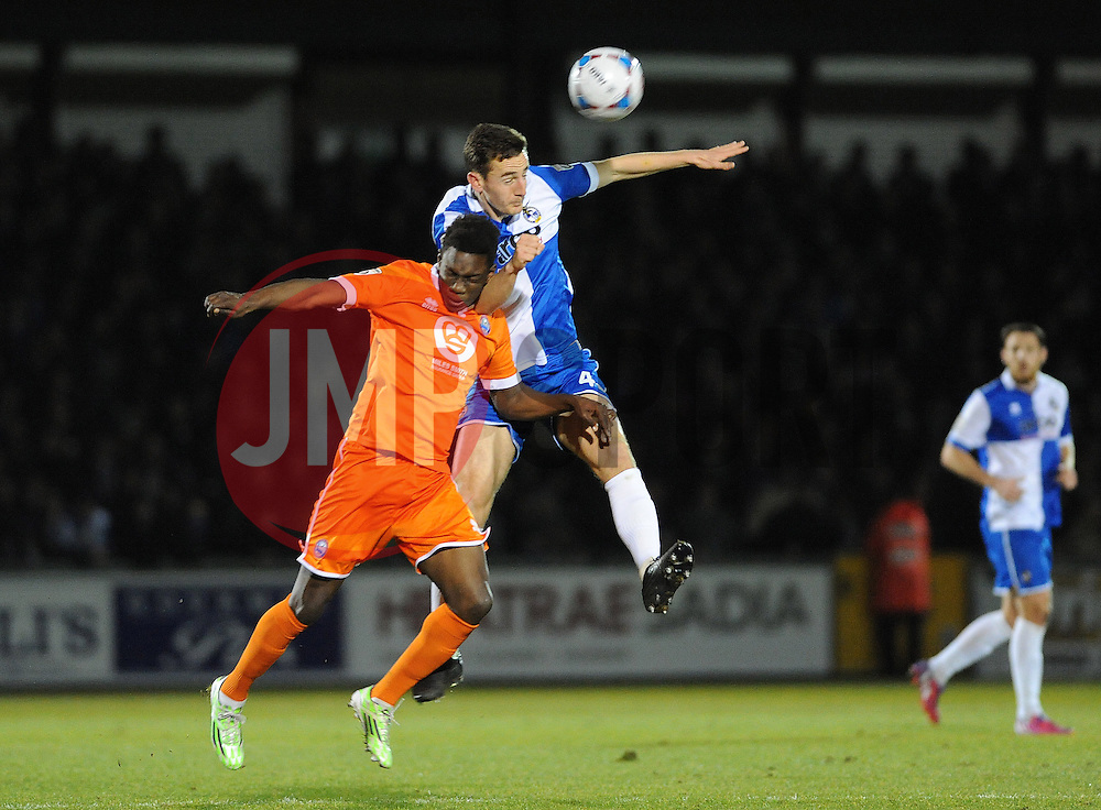 Bristol Rovers' Tom Lockyer heads clear from Braintree Town's Bernard Mensah  - Photo mandatory by-line: Neil Brookman/JMP - Mobile: 07966 386802 - 24/02/2015 - SPORT - Football - Bristol - Memorial Stadium - Bristol Rovers v Braintree - Vanarama Football Conference