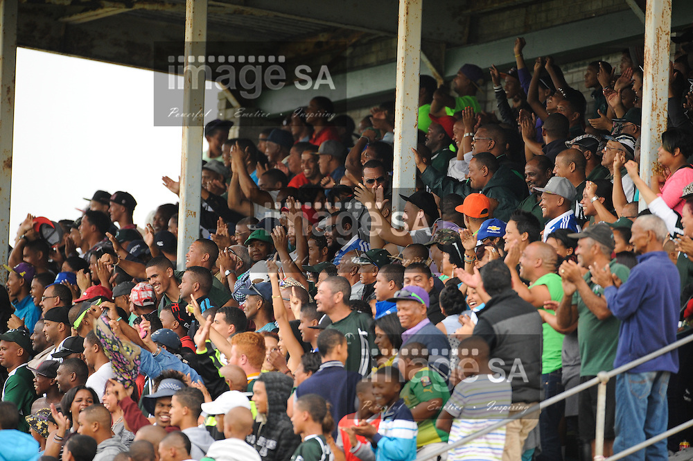 GEORGE, SOUTH AFRICA - Saturday 7 March 2015, the crowd in the main stand god wild during the third round match of the Cell C Community Cup between Pacaltsdorp Evergreens and Vaseline Wanderers at Pacaltsdorp Sports Grounds, George<br /> Photo by Roger Sedres/ImageSA/ SARU