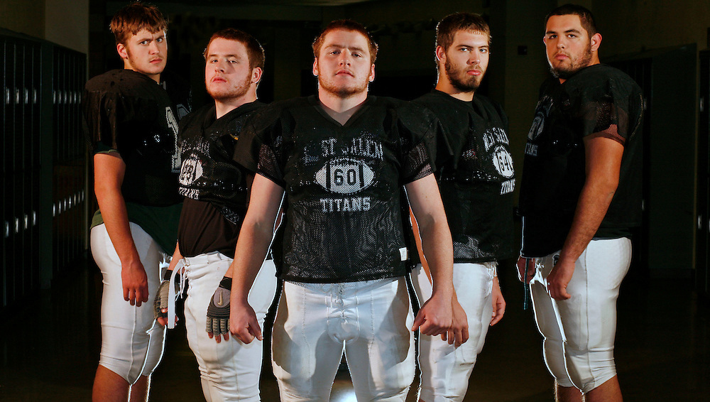 West Salem offensive linemen Carl Kreitzberg (from left), Connor Kryskalla, Scott Kryskalla, Jacob Norton and Trent Gallegos.