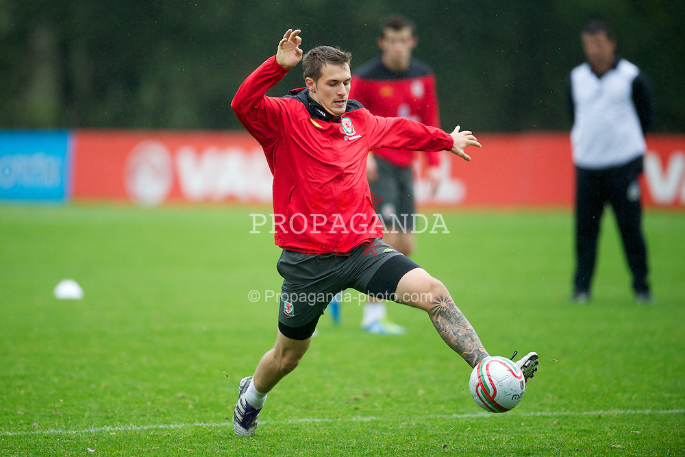 CARDIFF, WALES - Wednesday, October 5, 2011: Wales' captain Aaron Ramsey during a training session at the Vale of Glamorgan Hotel ahead of the UEFA Euro 2012 Qualifying Group G match against Switzerland. (Pic by David Rawcliffe/Propaganda)