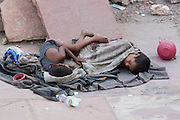 India, Delhi, Homeless Children living on the street