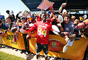 Jan 24, 2018; Kissimmee, FL, USA; Pittsburgh Steelers wide receiver Antonio Brown (84) poses with fans while he signs autographs after practice for the 2018 Pro Bowl at ESPN Wide World of Sports Complex. (Steve Jacobson/Image of Sport)