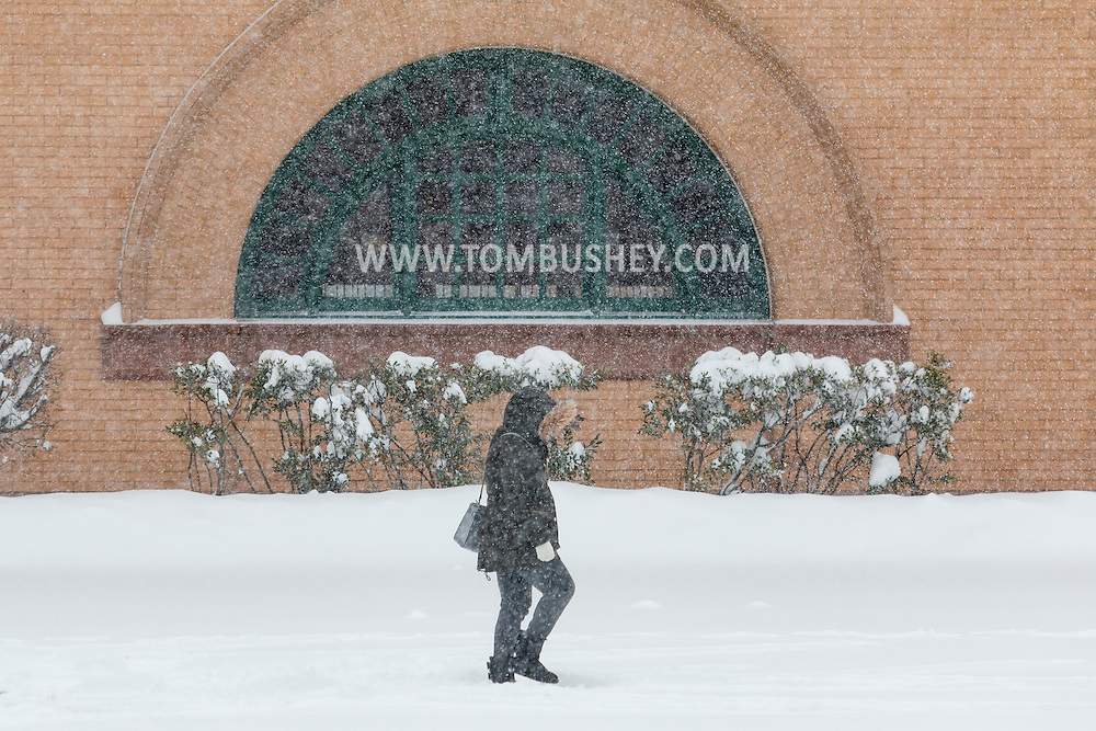Middletown, New York - A woman walks past Thrall Library during a snowstorm on Feb. 9, 2017.