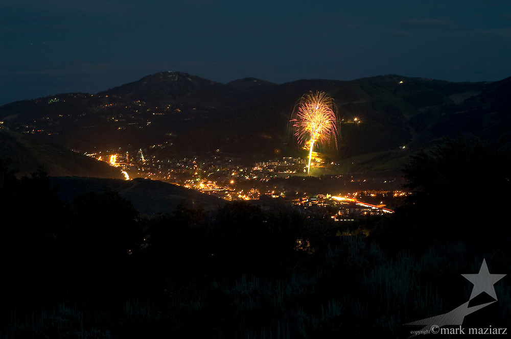 Independence Day 2005 fireworks above Park City Mountain Resort, Park City, Utah, USA