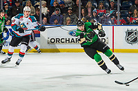 KELOWNA, BC - JANUARY 19: Nolan Foote #29 of the Kelowna Rockets skates behind Brett Leason #20 of the Prince Albert Raiders  at Prospera Place on January 19, 2019 in Kelowna, Canada. (Photo by Marissa Baecker/Getty Images)***Local Caption***