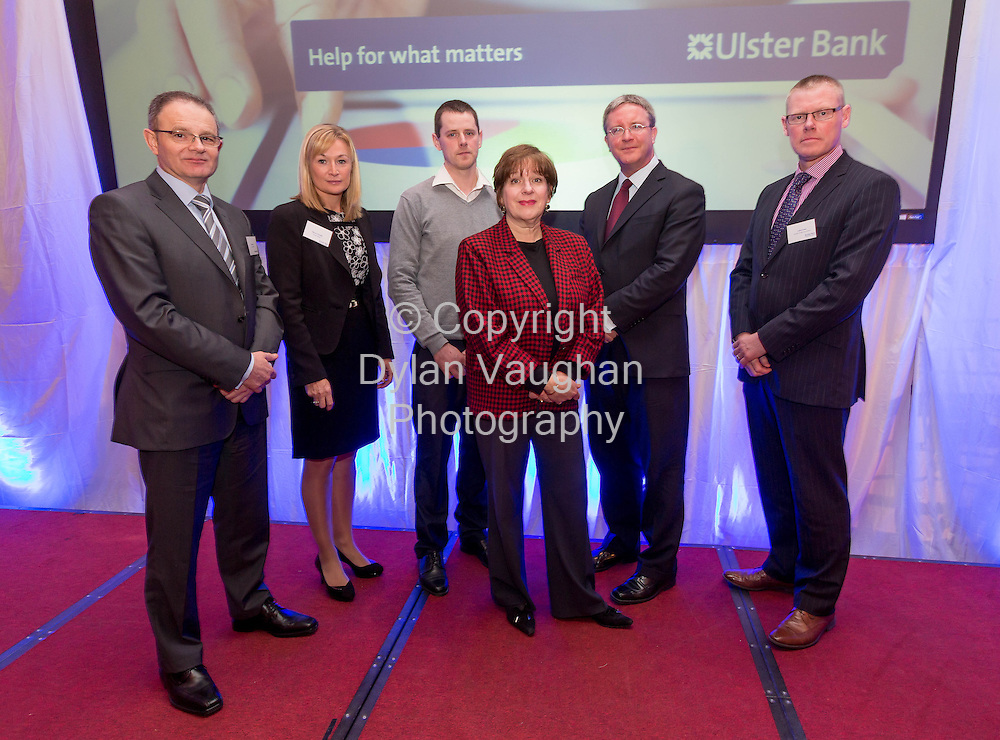 Repro Free no charge for Repr<br /> <br /> 7/2/2014<br /> Pictured here at the Ulster Bank Ahead for Business event, Lyrath Estate Hotel, Kilkenny, on Friday 7th February, (L-R) Tom Leahy, Ulster Bank, Maura O&rsquo;Keeffe, Head of Ulster Bank&rsquo;s, South Midlands Business Centre, John Kelly, Jill Kerby, personal finance journalist, Simon Barry, Chief Economist, Ulster Bank and Cathal Lowe Hooper Dolan Group.<br /> <br /> The Ahead for Business events are taking place in 15 locations across Ireland and are open to new and existing Ulster Bank customers. They include information on accessing finance, business planning and cash flow management. Ulster Bank recently announced it has a dedicated &euro;1.2billion available for businesses who are seeking finance to support their growth plans in 2014.<br /> <br /> <br /> Picture Dylan Vaughan.