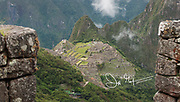 View of the Inca citadel of Machu Picchu, viewed from the Sun Gate.