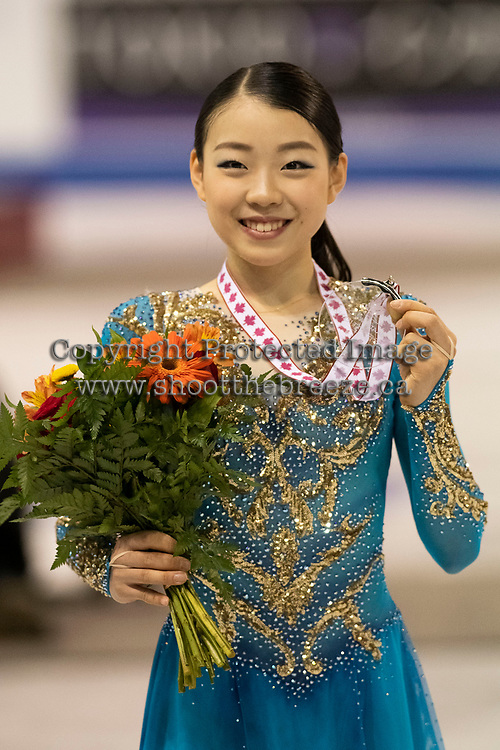 KELOWNA, BC - OCTOBER 26: Ladies silver medalist, Rika Kihira of Japan shows her medal on the ice during medal ceremonies of Skate Canada International held at Prospera Place on October 26, 2019 in Kelowna, Canada. (Photo by Marissa Baecker/Shoot the Breeze)