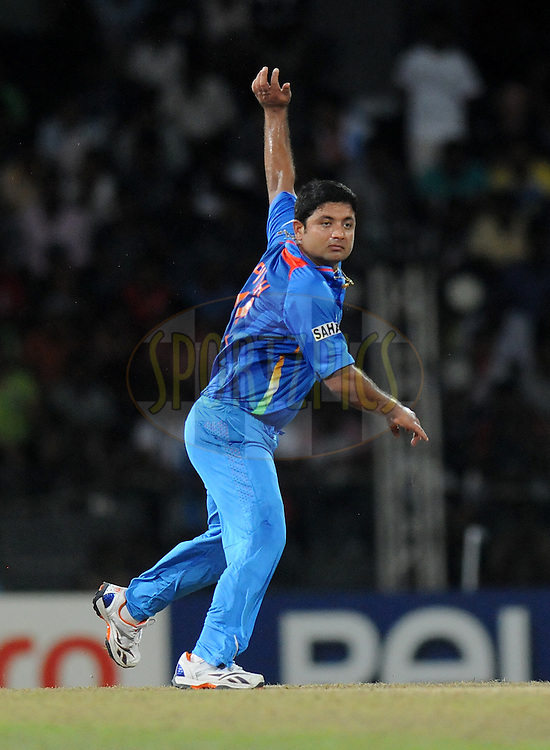Piyush Chawla of India bowls during the 10th WT20 match between  India and England held at the Premadasa cricket stadium in Colombo on 22nd September 2012..Photo by Pal Pillai/Sportzpics..