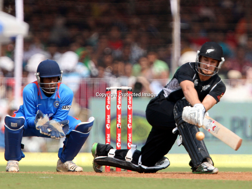 New Zealand batsman Nathan McCullum plays a shot against India during the 3rd ODI India vs New Zealand Played at Reliance Stadium, Vadodara<br /> 4 December 2010 (50-over match)