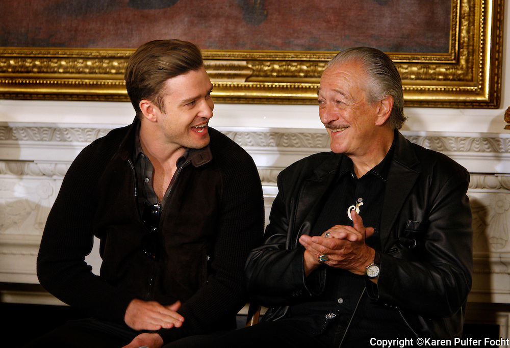 "April 9, 2013 - Justin Timberlake (left) and harmonica great Charlie Musselwhite  took questions from students during a Memphis music workshop in the State Dining Room at the White House on Tuesday. Both men grew up in Memphis and were influenced by sounds that came from the Memphis. The workshop event: ""Soulsville, USA: The History of Memphis Soul""  was attended by students from all over the country, including two from Stax Academy in Memphis.  It was hosted by Michelle Obama."