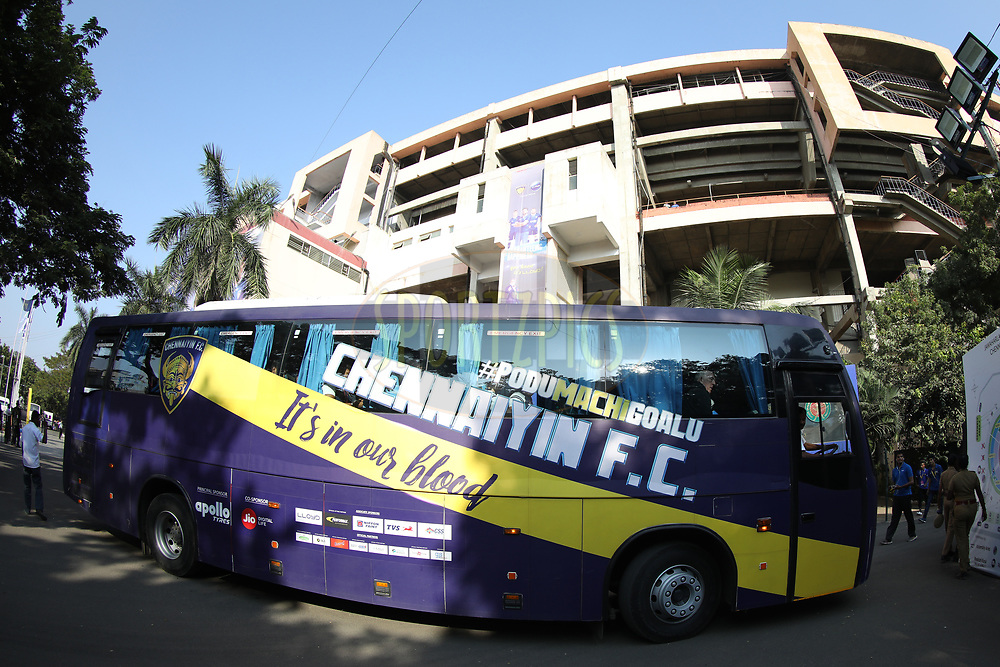 Chennaiyin FC bus during match 41 of the Hero Indian Super League between Chennaiyin FC and Delhi Dynamos FC   held at the Jawaharlal Nehru Stadium, Chennai India on the 7th January 2018<br /> <br /> Photo by: Arjun Singh  / ISL / SPORTZPICS