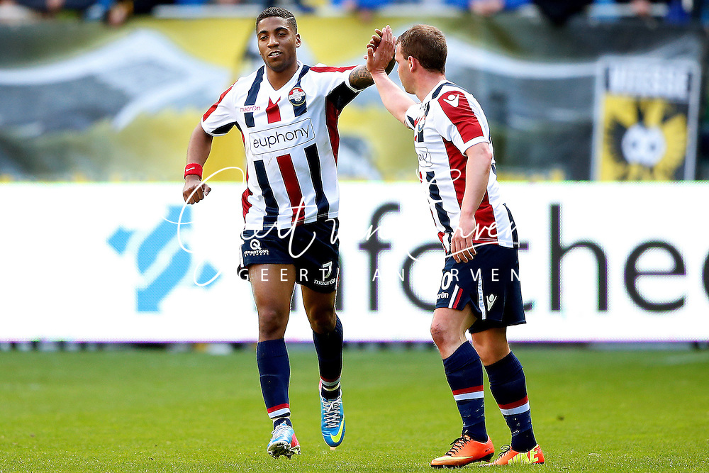 Onderwerp/Subject: Willem II - Eredivisie<br /> Reklame:  <br /> Club/Team/Country: <br /> Seizoen/Season: 2012/2013<br /> FOTO/PHOTO: Genaro SNIJDERS (L) of Willem II celebrating his goal with Nicky HOFS ( Nick HOFS ) (R) of Willem II ( 3 - 1 ). (Photo by PICS UNITED)<br /> <br /> Trefwoorden/Keywords: <br /> #02 $94 &plusmn;1355242997329<br /> Photo- &amp; Copyrights &copy; PICS UNITED <br /> P.O. Box 7164 - 5605 BE  EINDHOVEN (THE NETHERLANDS) <br /> Phone +31 (0)40 296 28 00 <br /> Fax +31 (0) 40 248 47 43 <br /> http://www.pics-united.com <br /> e-mail : sales@pics-united.com (If you would like to raise any issues regarding any aspects of products / service of PICS UNITED) or <br /> e-mail : sales@pics-united.com   <br /> <br /> ATTENTIE: <br /> Publicatie ook bij aanbieding door derden is slechts toegestaan na verkregen toestemming van Pics United. <br /> VOLLEDIGE NAAMSVERMELDING IS VERPLICHT! (&copy; PICS UNITED/Naam Fotograaf, zie veld 4 van de bestandsinfo 'credits') <br /> ATTENTION:  <br /> &copy; Pics United. Reproduction/publication of this photo by any parties is only permitted after authorisation is sought and obtained from  PICS UNITED- THE NETHERLANDS