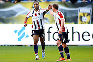 Onderwerp/Subject: Willem II - Eredivisie<br /> Reklame:  <br /> Club/Team/Country: <br /> Seizoen/Season: 2012/2013<br /> FOTO/PHOTO: Genaro SNIJDERS (L) of Willem II celebrating his goal with Nicky HOFS ( Nick HOFS ) (R) of Willem II ( 3 - 1 ). (Photo by PICS UNITED)<br /> <br /> Trefwoorden/Keywords: <br /> #02 $94 ±1355242997329<br /> Photo- & Copyrights © PICS UNITED <br /> P.O. Box 7164 - 5605 BE  EINDHOVEN (THE NETHERLANDS) <br /> Phone +31 (0)40 296 28 00 <br /> Fax +31 (0) 40 248 47 43 <br /> http://www.pics-united.com <br /> e-mail : sales@pics-united.com (If you would like to raise any issues regarding any aspects of products / service of PICS UNITED) or <br /> e-mail : sales@pics-united.com   <br /> <br /> ATTENTIE: <br /> Publicatie ook bij aanbieding door derden is slechts toegestaan na verkregen toestemming van Pics United. <br /> VOLLEDIGE NAAMSVERMELDING IS VERPLICHT! (© PICS UNITED/Naam Fotograaf, zie veld 4 van de bestandsinfo 'credits') <br /> ATTENTION:  <br /> © Pics United. Reproduction/publication of this photo by any parties is only permitted after authorisation is sought and obtained from  PICS UNITED- THE NETHERLANDS