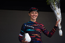 Third place on the podium for Kasia Niewiadoma (POL) at Ladies Tour of Norway 2018 Stage 2, a 127.7 km road race from Fredrikstad to Sarpsborg, Norway on August 18, 2018. Photo by Sean Robinson/velofocus.com