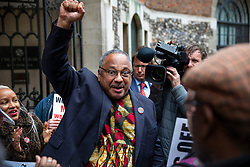 © Licensed to London News Pictures. 25/04/2018. London, UK. Marc Wadsworth greets his supporters outside Church House in Westminster where his disciplinary hearing for alleged antisemitic comments is taking place. His supporters claim a 'witch hunt' of left-wing activists is taking place within the Labour Party. Photo credit: Rob Pinney/LNP