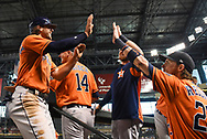 PHOENIX, AZ - AUGUST 15:  Jake Marisnick #6 of the Houston Astros is congratulated by Josh Reddick #22 after scoring against the Arizona Diamondbacks in the third inning at Chase Field on August 15, 2017 in Phoenix, Arizona.  (Photo by Jennifer Stewart/Getty Images)