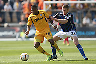Aaron O'Connor of Newport shields the ball from Jack O'Connell of Rochdale. Skybet football league two match, Newport county v Rochdale at Rodney Parade in Newport, South Wales on Saturday 3rd May 2014.<br /> pic by Mark Hawkins, Andrew Orchard sports photography.