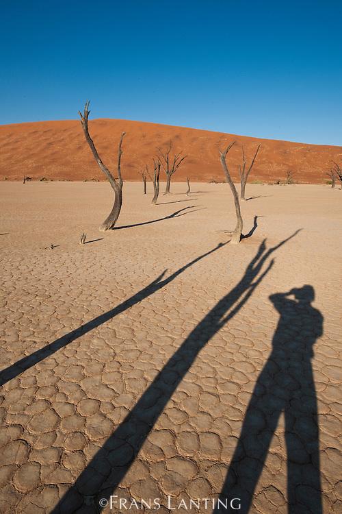 Photographer's shadow, Deadvlei, Namib-Naukluft National Park, Namibia