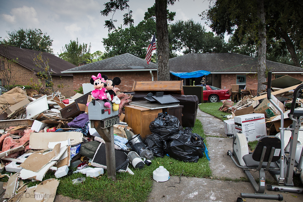 Contents in front of a flooded home in Baytown Texas removed after being flooded by Hurricane Harvey.