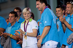Urska Zolnir and Primoz Kozmus during reception of Slovenian Olympic Team at Kongresni Trg when they came back from London after Summer Olympic games 2012, on August 14, 2012 in Center of Ljubljana, Slovenia (Photo by Matic Klansek Velej / Sportida.com)