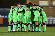 Team huddle during the FA Youth Cup match between U18 Forest Green Rovers and U18 Cheltenham Town at the New Lawn, Forest Green, United Kingdom on 29 October 2018.
