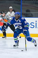 PENTICTON, CANADA - SEPTEMBER 16: Jordan Subban #67 of Vancouver Canucks skates with the puck against the Edmonton Oilers on September 16, 2016 at the South Okanagan Event Centre in Penticton, British Columbia, Canada.  (Photo by Marissa Baecker/Shoot the Breeze)  *** Local Caption *** Jordan Subban;