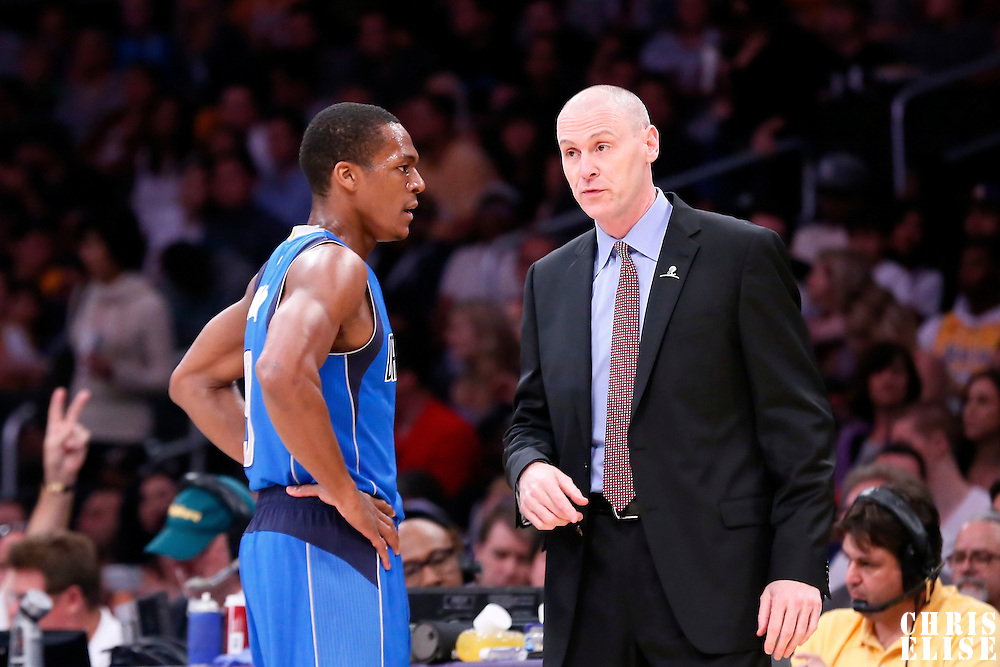 12 April 2014: Dallas Mavericks head coach Rick Carlisle talks to Dallas Mavericks guard Rajon Rondo (9) during the Dallas Mavericks 120-106 victory over the Los Angeles Lakers, at the Staples Center, Los Angeles, California, USA.