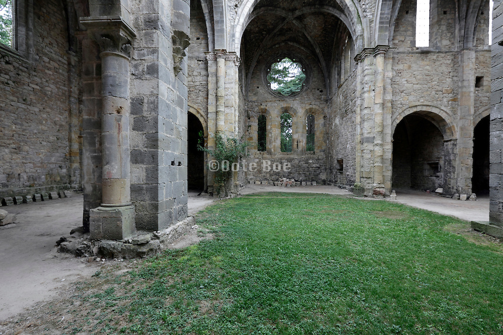 grass growing inside the remains of an old church