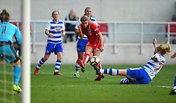 Olivia Fergusson of Bristol City Women is tackled by Rachel Furness of Reading Women - Mandatory by-line: Paul Knight/JMP - 22/04/2017 - FOOTBALL - Ashton Gate - Bristol, England - Bristol City Women v Reading Women - FA Women's Super League 1 Spring Series