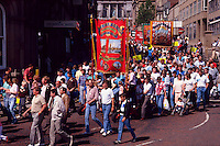 Woolley and Shafton Workshops Branches NUM banners on the Yorkshire miners 100th gala, Barnsley. 20-06-1987.
