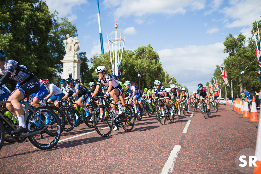 Floortje Mackaaij (NED) of Team Sunweb corners during the Prudential RideLondon Classique - a 64.8 km road race, starting and finishing in central London on July 28, 2018, in London, United Kingdom. (Photo by Balint Hamvas/Velofocus.com)