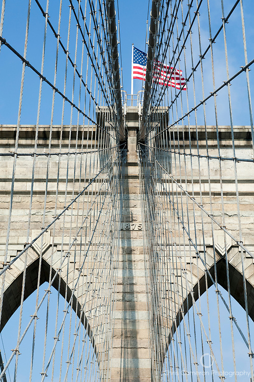 The suspension cables on the  Brooklyn Bridge between Manhattan and Brooklyn over the East River. New York