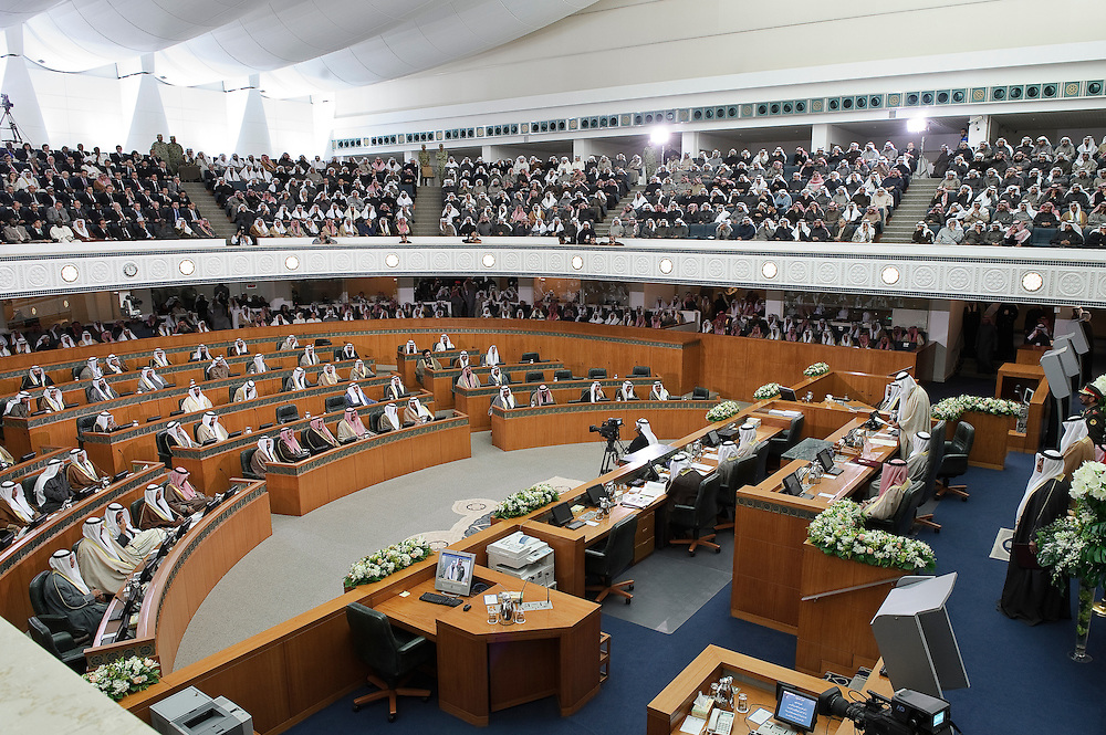 Wide view of the National Assembly hall in Kuwait City with HH the Emir Sheikh Sabah Al-Ahmad Al-Jaber Al-Sabah presiding over the state opening of the 14th legislative term's first session Feb 15, 2012. Kuwaitis voted Feb. 2 for a new 50-member legislature.