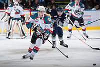 KELOWNA, CANADA - JANUARY 24:  Cole Martin #8 of the Kelowna Rockets makes a pass against the Seattle Thunderbirds at the Kelowna Rockets on January 24, 2013 at Prospera Place in Kelowna, British Columbia, Canada (Photo by Marissa Baecker/Shoot the Breeze) *** Local Caption ***
