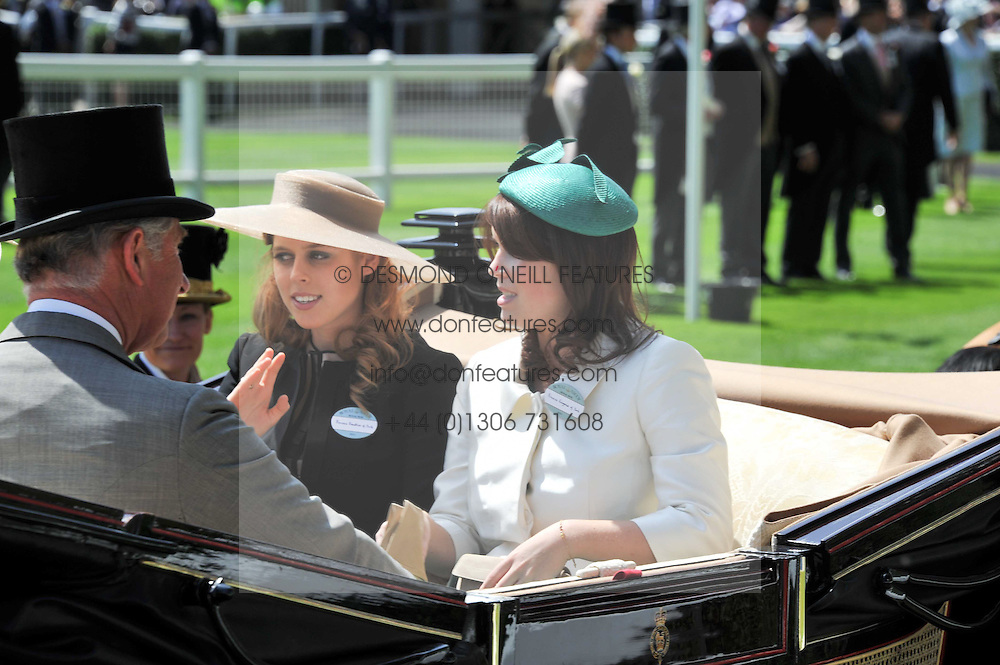 Left to right, PRINCESS BEATRICE OF YORK and PRINCESS EUGENIE OF YORK at day 1 of the 2011 Royal Ascot Racing festival at Ascot Racecourse, Ascot, Berkshire on 14th June 2011.