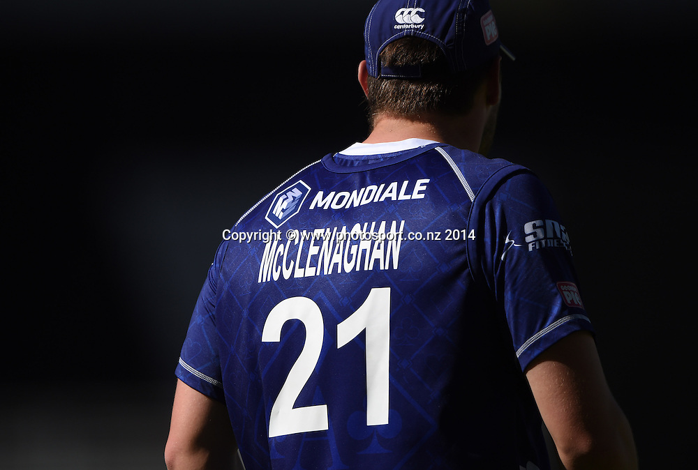Mitchell McClenaghan during the Georgie Pie Super Smash Twenty20 cricket match between the Auckland Aces and Northern Knights at Eden Park, Auckland on Sunday 16 November 2014. Photo: Andrew Cornaga / www.Photosport.co.nz