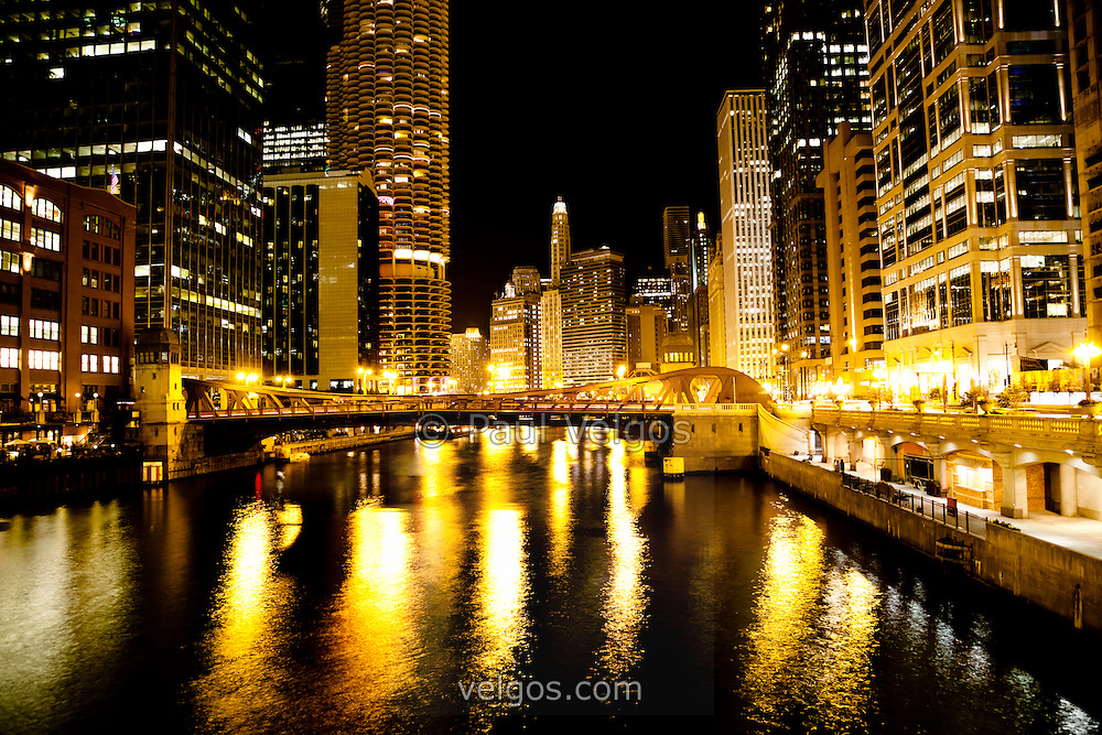 Chicago River Downtown at Night | Buy Canvas Prints, Large Wall Art ...