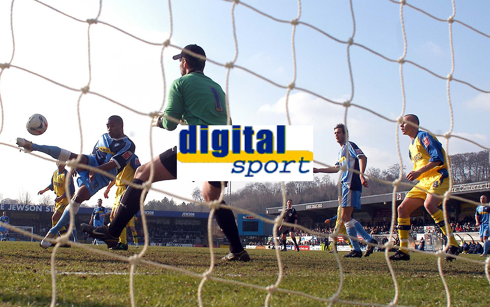 Photo: Alan Crowhurst.<br />Wycombe Wanderers v Torquay United. Coca Cola League 2. 18/03/2006. <br />Jermaine Easter (L) goes close for Wycombe.