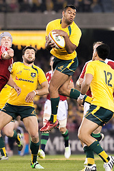 © Licensed to London News Pictures. 29/6/2013. Kurtley Beale leaps & catches a high ball during the British & Irish Lions 2nd test between Qantas Wallabies Vs British & Irish Lions at Etihad Stadium, Melbourne, Australia. Photo credit : Asanka Brendon Ratnayake/LNP