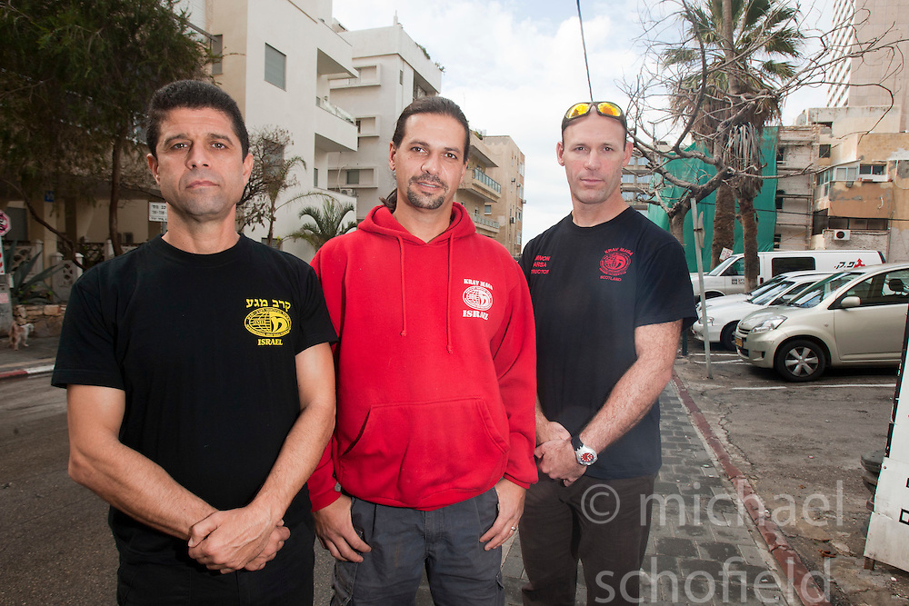 IKMF's Haim Sasson, Shlomi Moyal and Amnon Darsa. Day ten on the Train & Travel in Israel, on Sunday 9th Jan 2011. Train & Travel is a unique ten day program designed for IKMF's instructors, students & guests, interested in combining Krav Maga training with a tour of the holy land..©2011 Michael Schofield. All Rights Reserved.