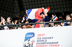 Supporters of France during the 2017 IIHF Men's World Championship group B Ice hockey match between National Teams of Finland and France, on May 7, 2017 in Accorhotels Arena in Paris, France. Photo by Vid Ponikvar / Sportida