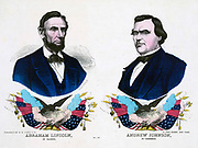 campaign banner for the Republican ticket in the 1864 presidential election. President Abraham Lincoln and Andrew Johnson.