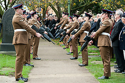 Guard of Honour prepare for the arrival of the coffin at the Funeral of Private Matthew Adam Thornton, Territorial Army Soldier with 4th Battalion The Yorkshire Regiment who was killed on the 9th of November 2011 while deployed to Afghanistan with Support Company 1st Battalion the Yorkshire Regiment..Private Thornton was killed just 6 days after his 28th Birthday and 2 days before Armistice Day. .The funeral was held at All Saints Church Darton Barnsley on Tuesday.29 November 2011  Image © Paul David Drabble