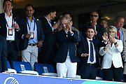 England chairman of selectors Ed Smith standing to to applaud the team before the trophy presentation after England won the cricket World Cup during the ICC Cricket World Cup 2019 Final match between New Zealand and England at Lord's Cricket Ground, St John's Wood, United Kingdom on 14 July 2019.