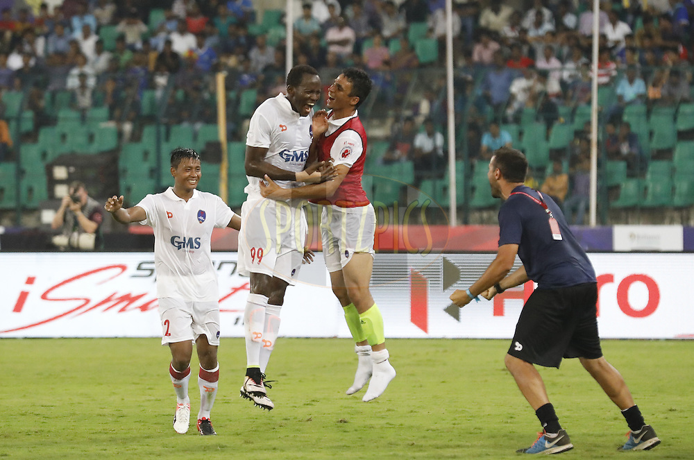 Badara Badji of Delhi Dynamos FC celebrate 3 goal with team players during match 6 of the Indian Super League (ISL) season 3 between Chennaiyin FC and Delhi Dynamos FC held at the Jawaharlal Nehru Stadium in Chennai, India on the 6th October 2016.<br /> <br /> Photo by Arjun Singh / ISL/ SPORTZPICS