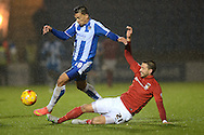 Macauley Bonne looks to get past Aaron Martin of Coventry City during the Sky Bet League 1 match between Colchester United and Coventry City at the Weston Homes Community Stadium, Colchester<br /> Picture by Richard Blaxall/Focus Images Ltd +44 7853 364624<br /> 14/11/2015